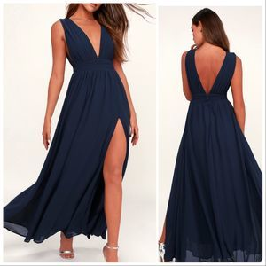 Lulu's NWT Heavenly Hues Maxi Dress Navy Blue Med